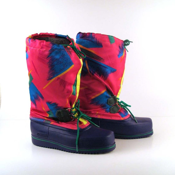 Sorel Snow Boots Vintage Winter Neon Moon Boots Ski Lounger apres ski
