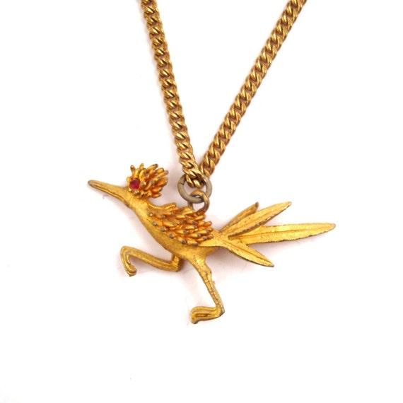 Vintage Roadrunner Necklace 1970s Gold tone Pendant