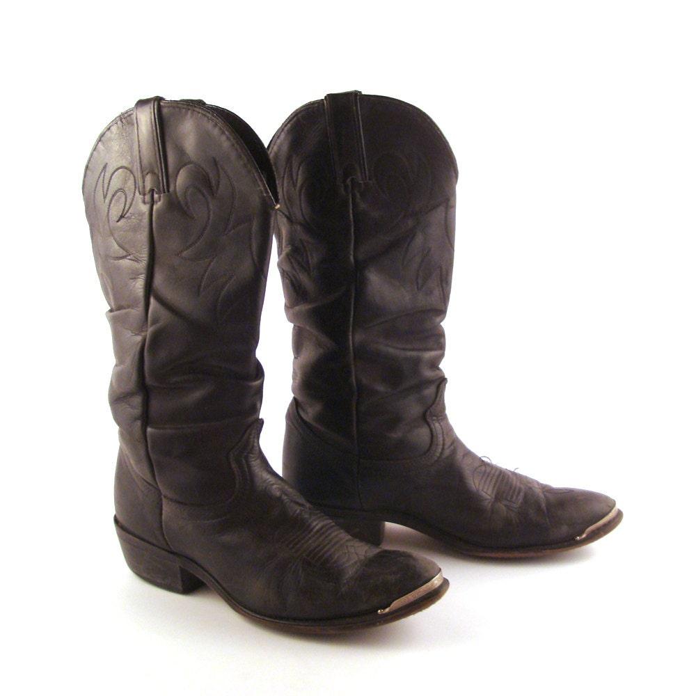 black cowboy boots vintage 1980s durango slouch leather