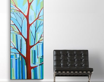 Tree Song no. 21 Billies Blues (20x60) original painting on canvas by Kristi Taylor