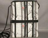 Sling Bag - Passport Purse - Small Mini Purse - Wallet on a String - Birch Trees - Red Bird
