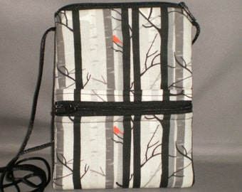 Sling Bag - Passport Purse - Small Mini Purse - Wallet on a String - Birch Trees - Red Bird