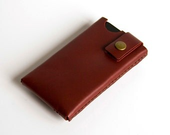 iPhone / iPod Touch / Smartphone Case - Hand Stitched Leather - Cherry Red - FREE SHIPPING