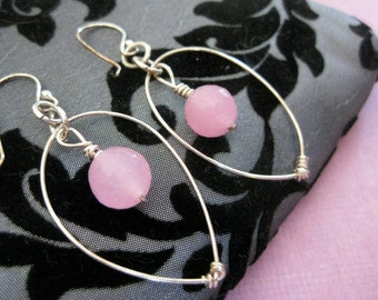 Cotton Candy Pink Hoop Earrings