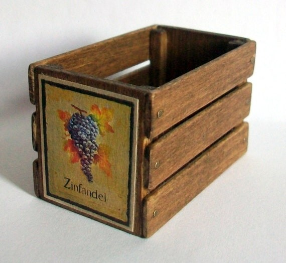 Miniature Zinfandel Wine Crate (1 inch dollhouse scale)