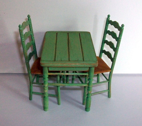 Miniature Shabby Spring Green Table and 2 Chairs (1 inch dollhouse scale)