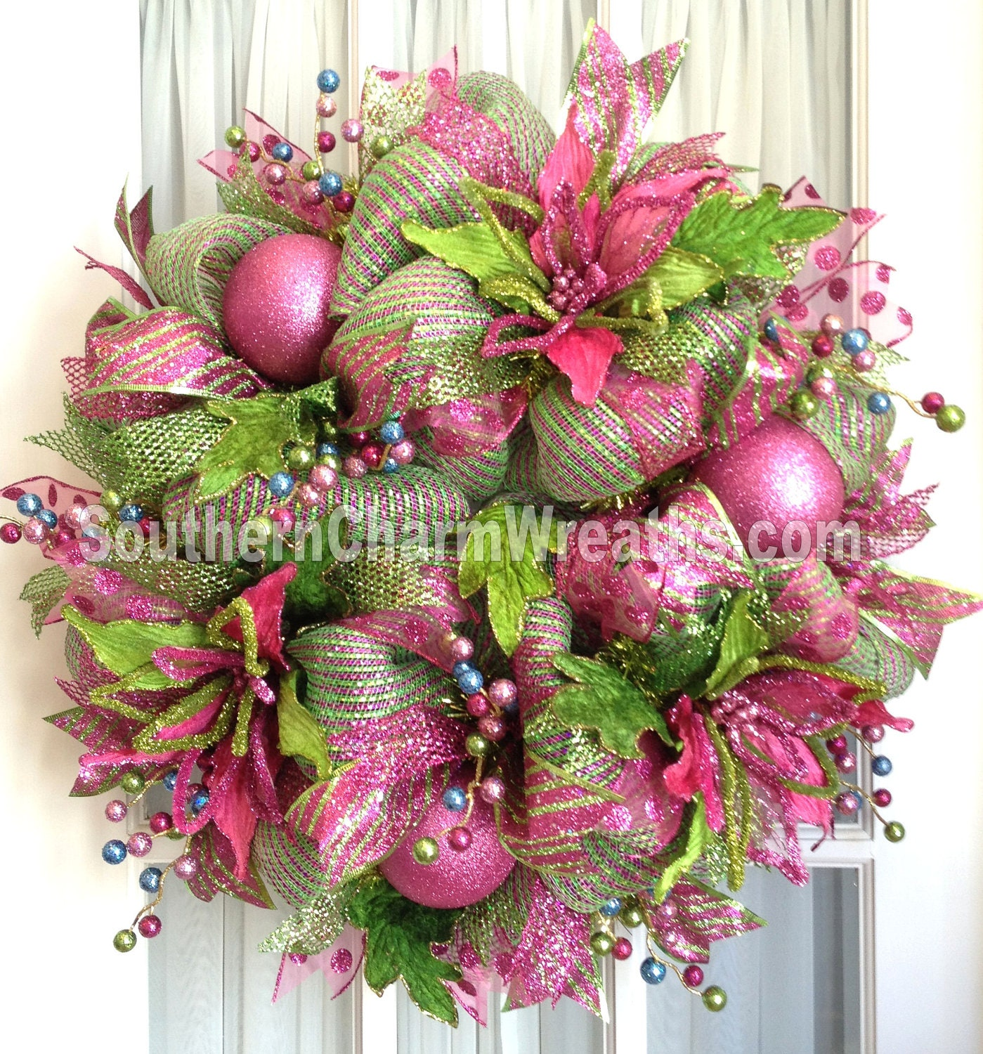 Funky Wall Clocks Deco Mesh Christmas Wreath Hot Pink Lime Green For Door Or