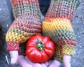 SALE Unisex crochet fingerless gloves wrist warmers in fall medley, ready to ship.