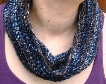 SALE, Infinity scarf crochet neckwarmer in navy blue and coffee brown ,ready to ship.