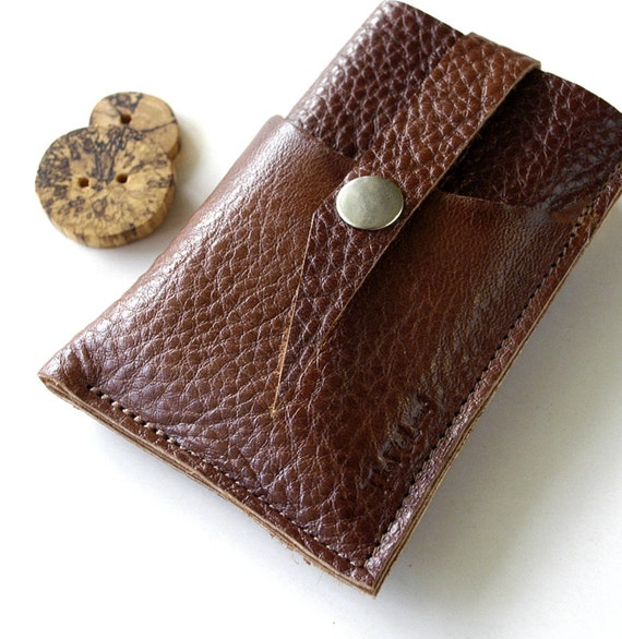 LEATHER iPhone 4 or 5 Case - Gadgets, Phones, Ipod Classic - Triple Pocket with Top Closure - Minimalist Series with Raw Edge