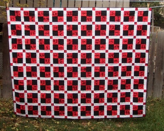 Handmade Twin Quilt Word Quilt Kanji Blessings Red Black White Quiltsy
