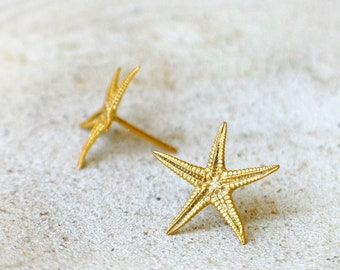 Starfish Gold Post Earrings-Gold on Brass-Smally size