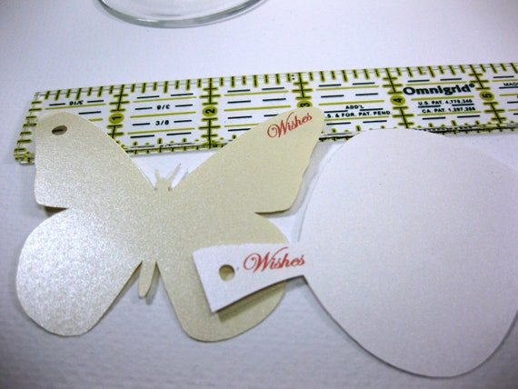 Custom Listing for samandpen 70 Butterfly Wine Glass Toppers Champagne Metallic Cardstock