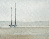 original watercolor painting of a meditative scene of sailing boats