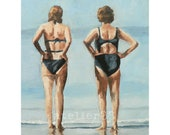 two women wearing swimsuits looking out to sea giclee art print