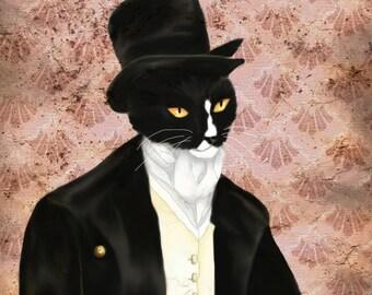 I Love Mr Darcy Tuxedo Cat Art, Cat Dressed in Regency Clothes 5x7 Fine Art Print