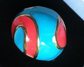 1960s Enamel and Gold Dome Ring CORAL and TURQUOISE size 6