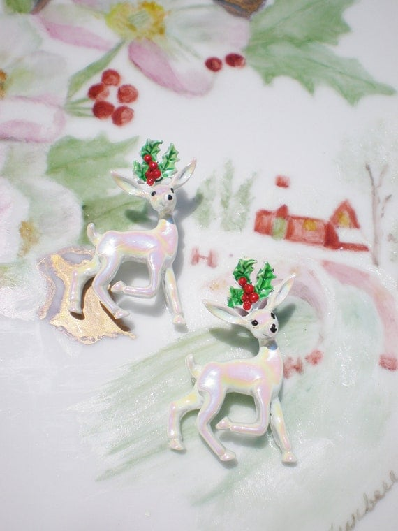 Vintage Brooches Christmas Deer Pins Set CIJ