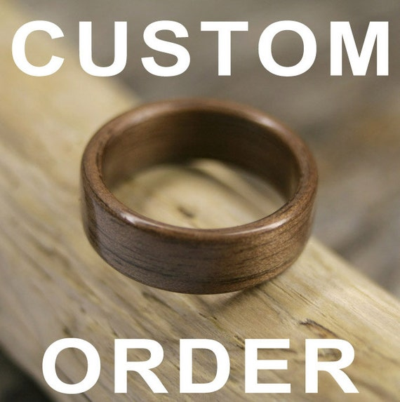 RESERVED for ZackHuber - Custom Beeswing Walnut, Coral Heart Maple and Grey Maple Bentwood Ring - Handcrafted Wooden Ring