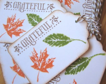 Fall Leaves Gift Tags, Autumn Leaf Grateful Gift Tags, Thanksgiving Gift Tags