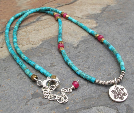 Turquoise Ruby Brass Thai Hill Tribe Silver  Necklace - Little Flower Heishi