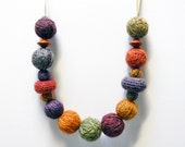 Unique wool yarn beads necklace, wood beads. Fall colors, crochet jewelry, mustard yellow, sage green, purple, burgundy