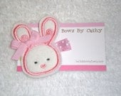 SALE...Felt Bunny Rabbit Hair Clip Clippie - Pink and White Easter Bunny - Girls Birthday Party Favors