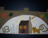 RuStiC FaLL HaLLoWeeN AuTuMn ThankSgiVinG Cat WooL FeLt CaBin in The WooDs LeAveS WaLL HanGinG OFG TeAm