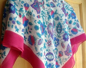 Vintage Italian Scarf - Vintage Scarf - Fuchsia Scarf - Vintage Womens Scarf - Large Scarf - Fuchsia - Sheer Scarf