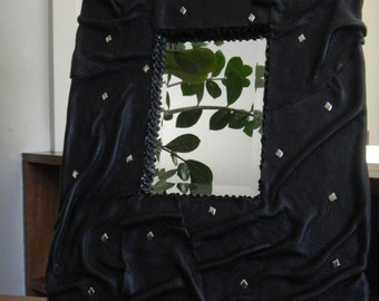 Wavy Black Leather Mirror