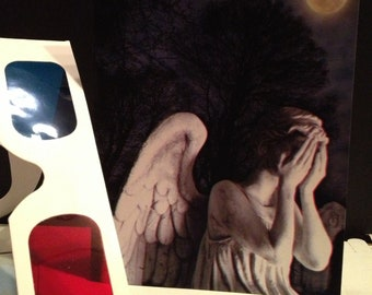 Weeping Angels 3D card with 3D glasses- weeping angels really pop out at you