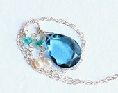 London Blue Quartz Necklace, Apatite, Pearl, Sterling Silver - BluSea by CircesHouse on Etsy