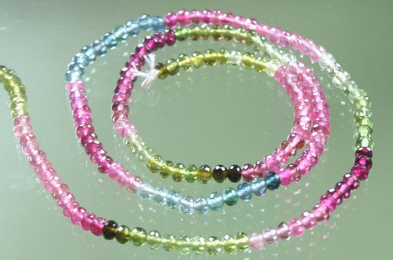 AAA Multi Tourmaline Micro-Faceted Rondelles 3mm