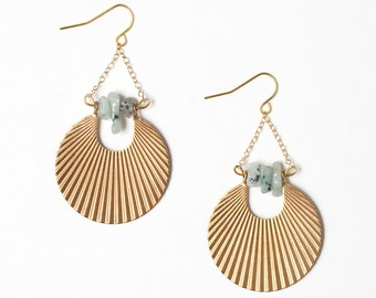 Ribbed Gold Disc Earrings with Sesame Jasper Stones and 14k Gold Filled Chain