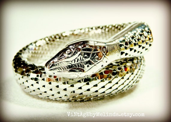 Whiting and Davis Snake Bracelet Single Coil Silver Rhodium 1976 Mesh Collection