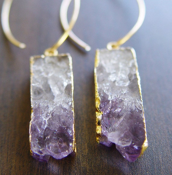 Amethyst Stalactite Druzy Earrings 14k Gold
