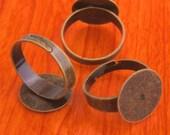 big size 20pcs 15mm Pad brass base free nickel Adjustable antique bronze RING Base Blank widen Findings