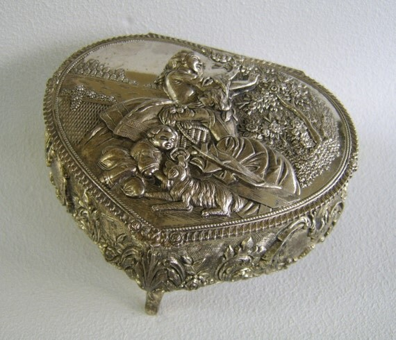 Vintage Silver Metal Heart Jewelry Box Red Velvet Mid Century