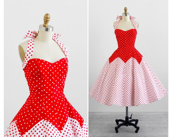 vintage rockabilly dress / 1950s dress / Victor Costa 50s Style Red and White Polkadot Dress