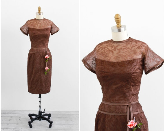 vintage 1950s dress / lace dress / Brown Lace and Silk Illusion Cocktail Dress with Pink Roses