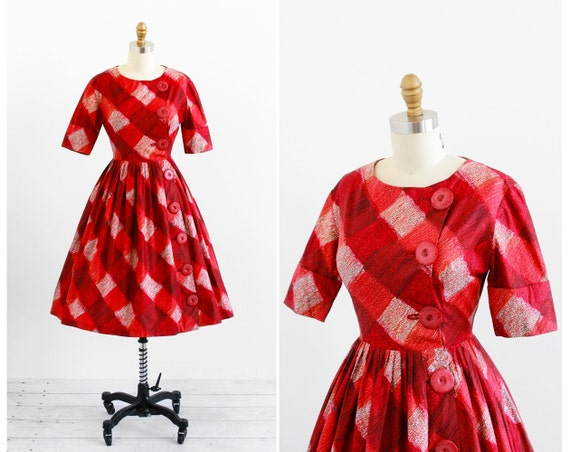 vintage 1950s dress / 50s dress / Red Plaid Dress with Enormous Red Buttons