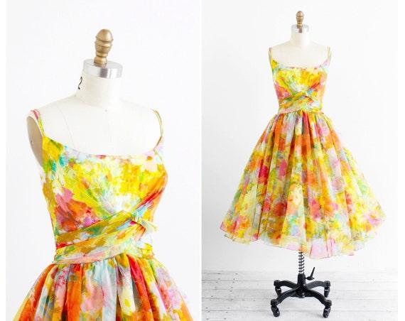 vintage 1950s dress / 50s prom dress / Rainbow Chiffon Ballerina Cupcake Party Dress