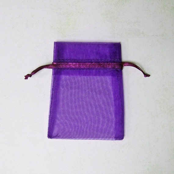 50  3x4  Organza Bags, Purple