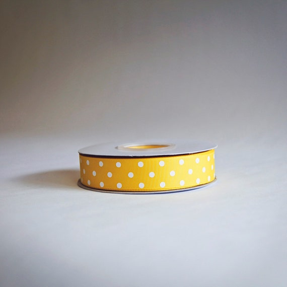 Yellow Polka Dot Grosgrain Ribbon, 25 yds. on the spool, Yellow, choose from 3 widths, 3/8ths, 5/8ths, or 7/8ths