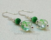 Green Ribbon Cerebral Palsy or Kidney Cancer Awareness Beaded Earrings