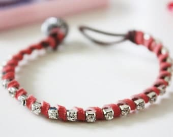 Pink Leather and Crystal Single Wrap Bracelet