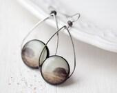 Mystery Tree earrings - Brown earrings - Boho Jewelry - Art photo earrings - Wearable art - Nature Jewelry - Autumn jewelry (E097)
