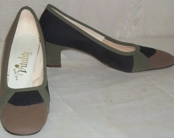 Vintage Vitality Color Block Suede Leather Shoes Pumps 6 1/2AA Olive Black Taupe
