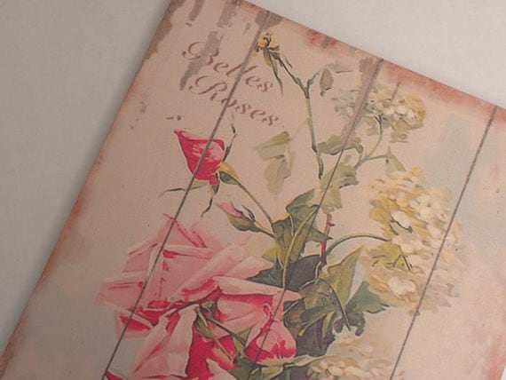 french roses, belles roses de france, wallhanging, canvas, wood frame