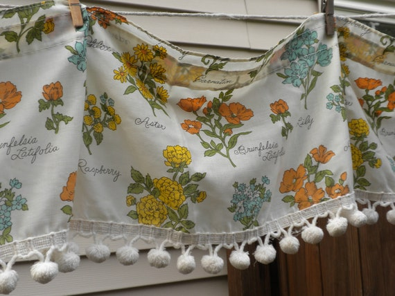 vintage cottage chic, valance, country kitchen, herbs and flowers, country garden